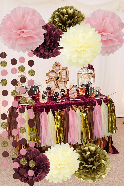 e47eab23925e Bridal Shower Decorations Qian s Party Burgundy Pink Glitter Gold Birthday  Decorations Tissue Paper Pom Pom Tassel Garland Wedding Burgundy Party ...