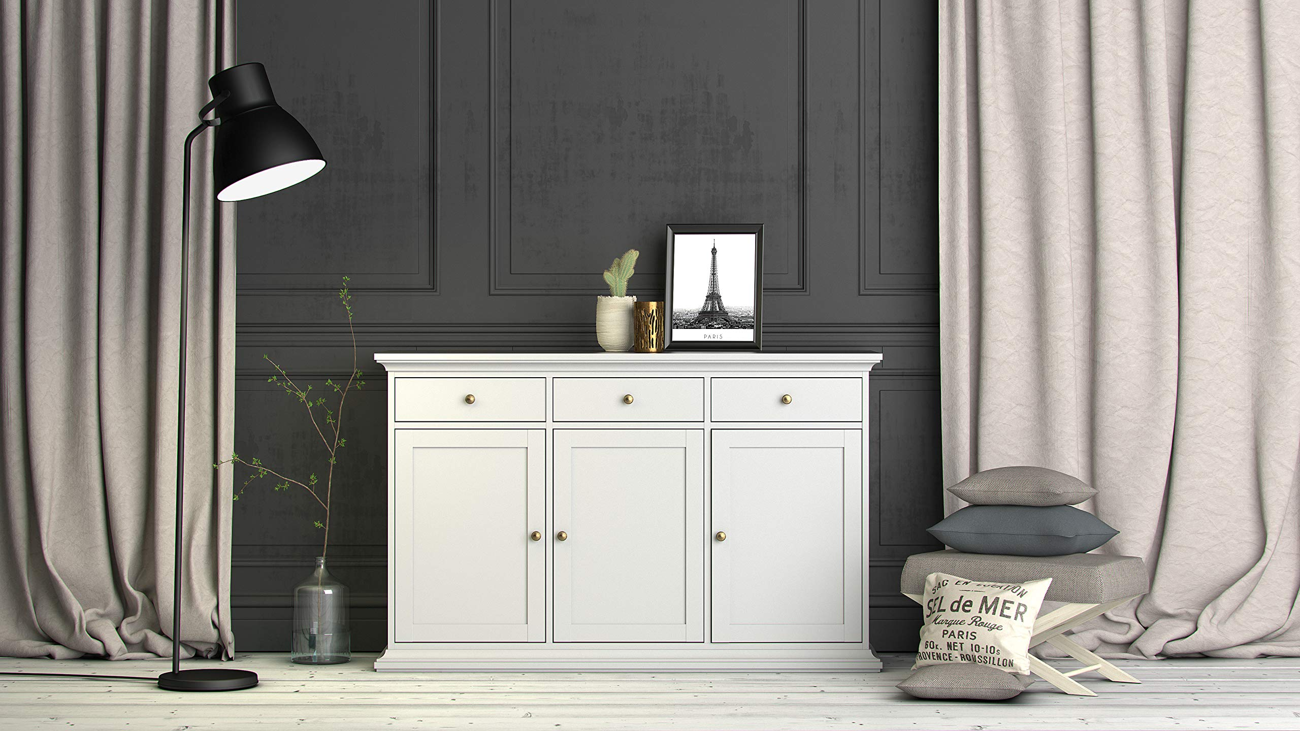 Tvilum Sonoma Sideboard with 3 Doors and 3 Drawers, White by Tvilum