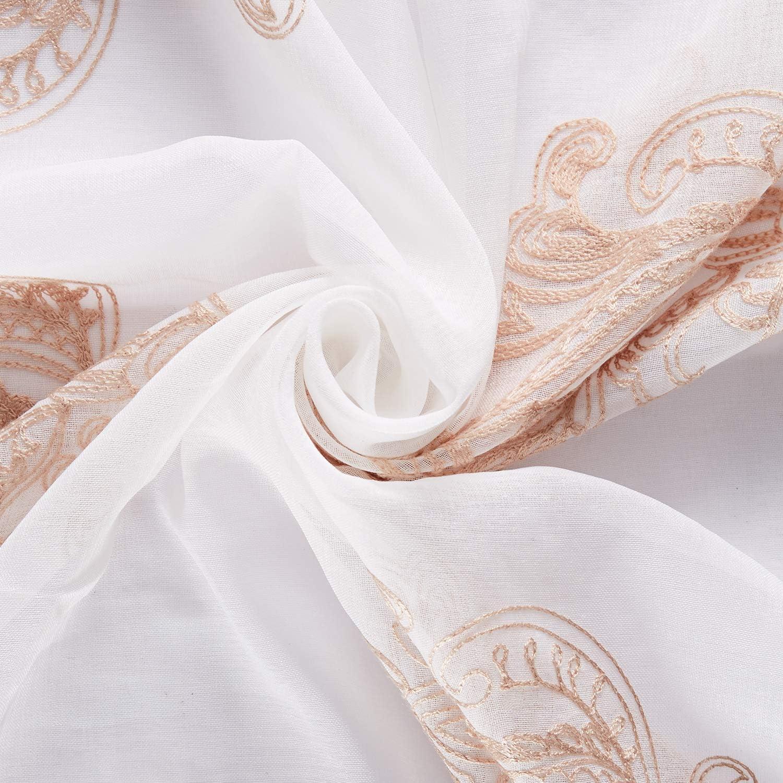 Topfinel Bordado Modernas Cortinas Salon Visillos para Ventanas Dormitorio con Ojales,2 Piezas,140x160cm,Amarillo