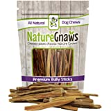 "Nature Gnaws Extra Thin Bully Sticks 5-6"" - 100% All-Natural Grass-Fed Free-Range Premium Beef Dog Chews - For Small Breeds and Light Chewers"