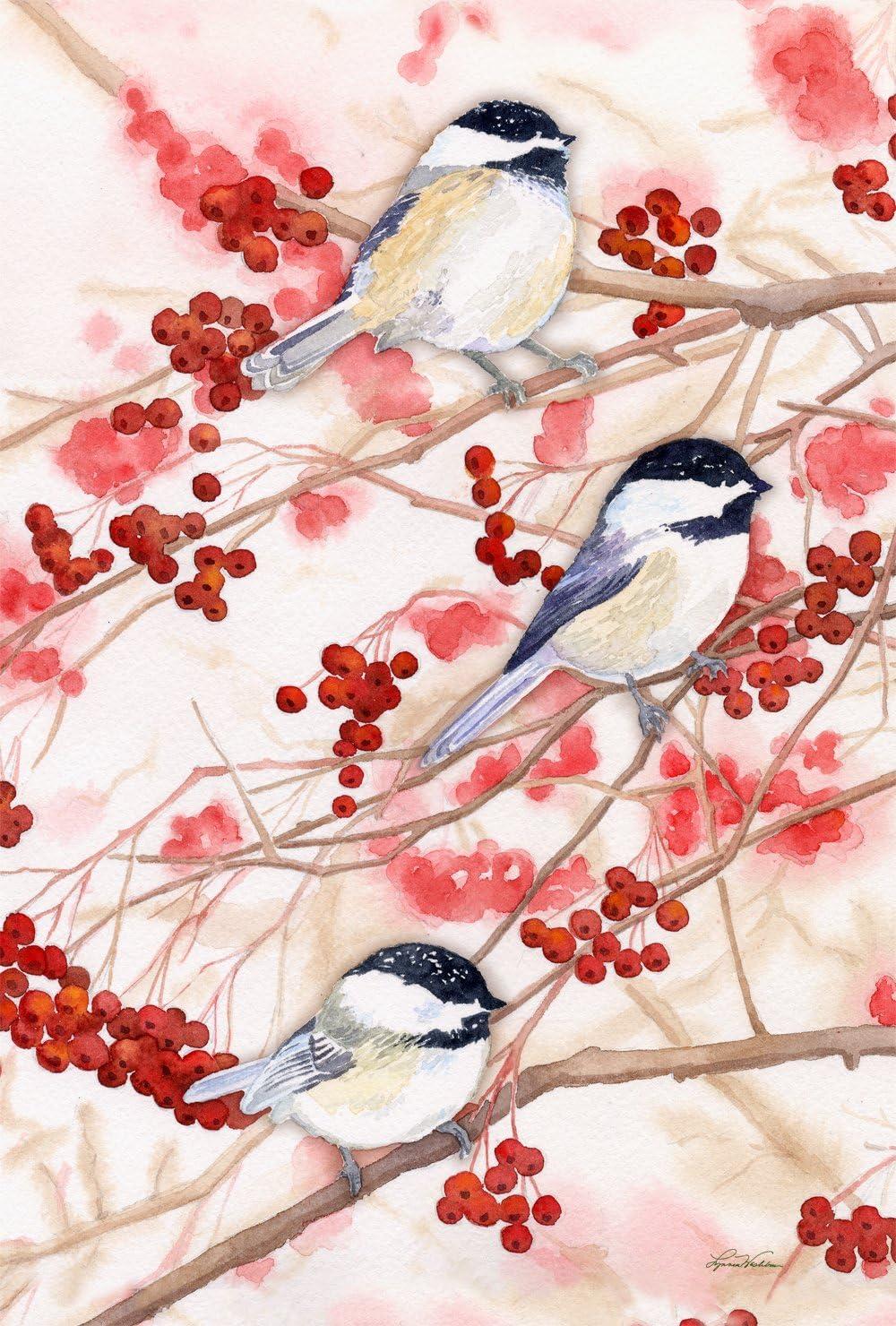 Toland Home Garden Chickadees and Berries 12.5 x 18 Inch Decorative Spring Bird Tree Branch Garden Flag