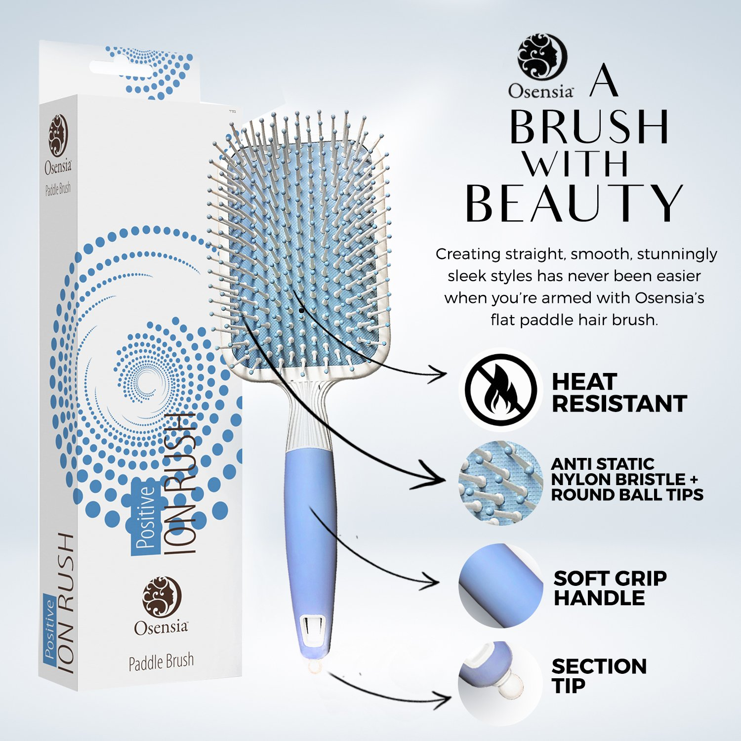 Amazon.com : Soft Paddle Brush Infused with Ionic Minerals -Anti ...