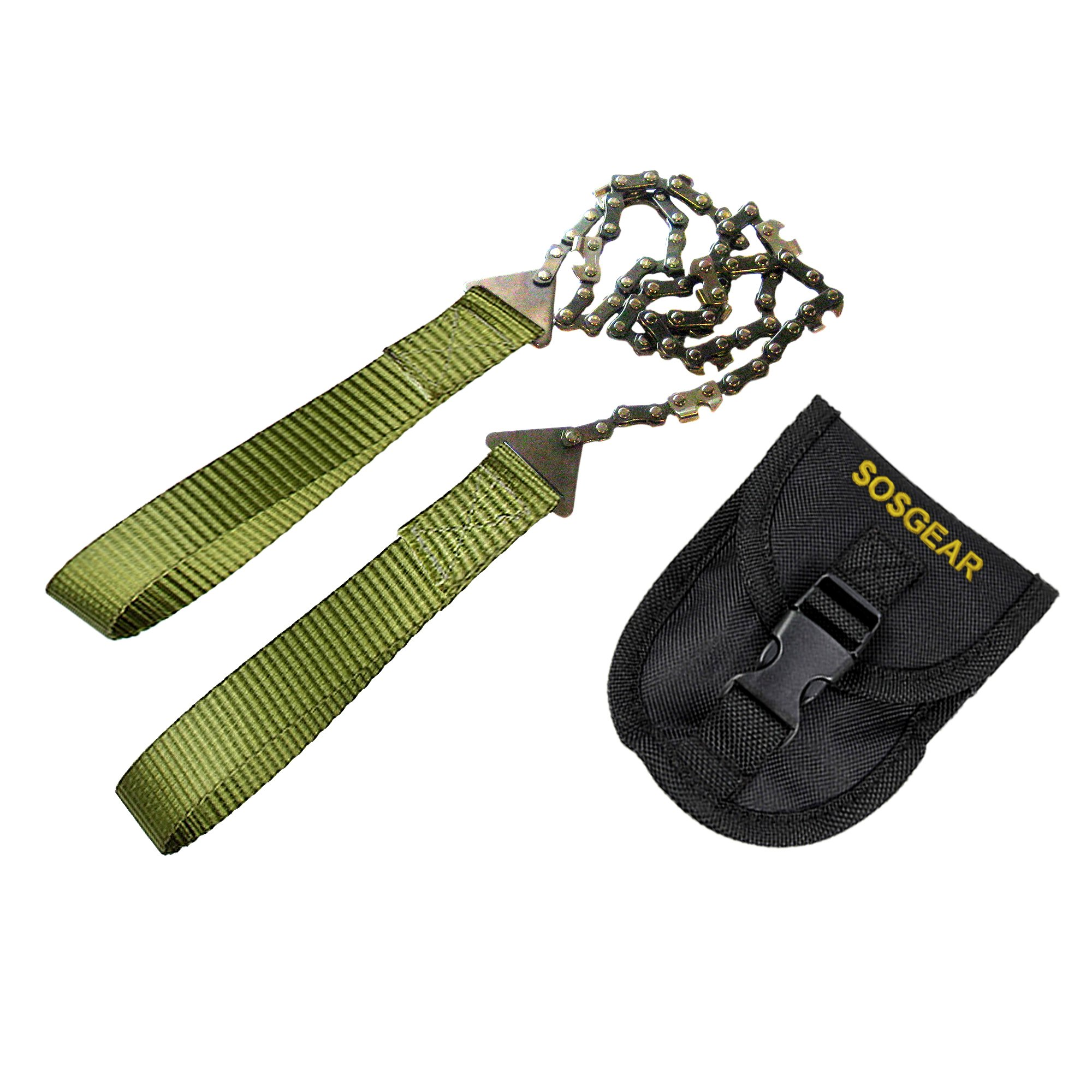 SOS Gear Pocket Chainsaw and Fire Starter - Survival Hand Saw, Firestarter with Built in Compass & Whistle, Embroidered Pouch for Camping & Backpacking - Green Straps, 36'' Chain by SOSGEAR (Image #6)