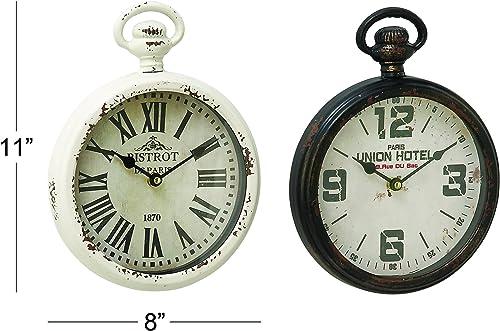 Deco 79 52561 Metal Glass Wall Clock, 8 x 11