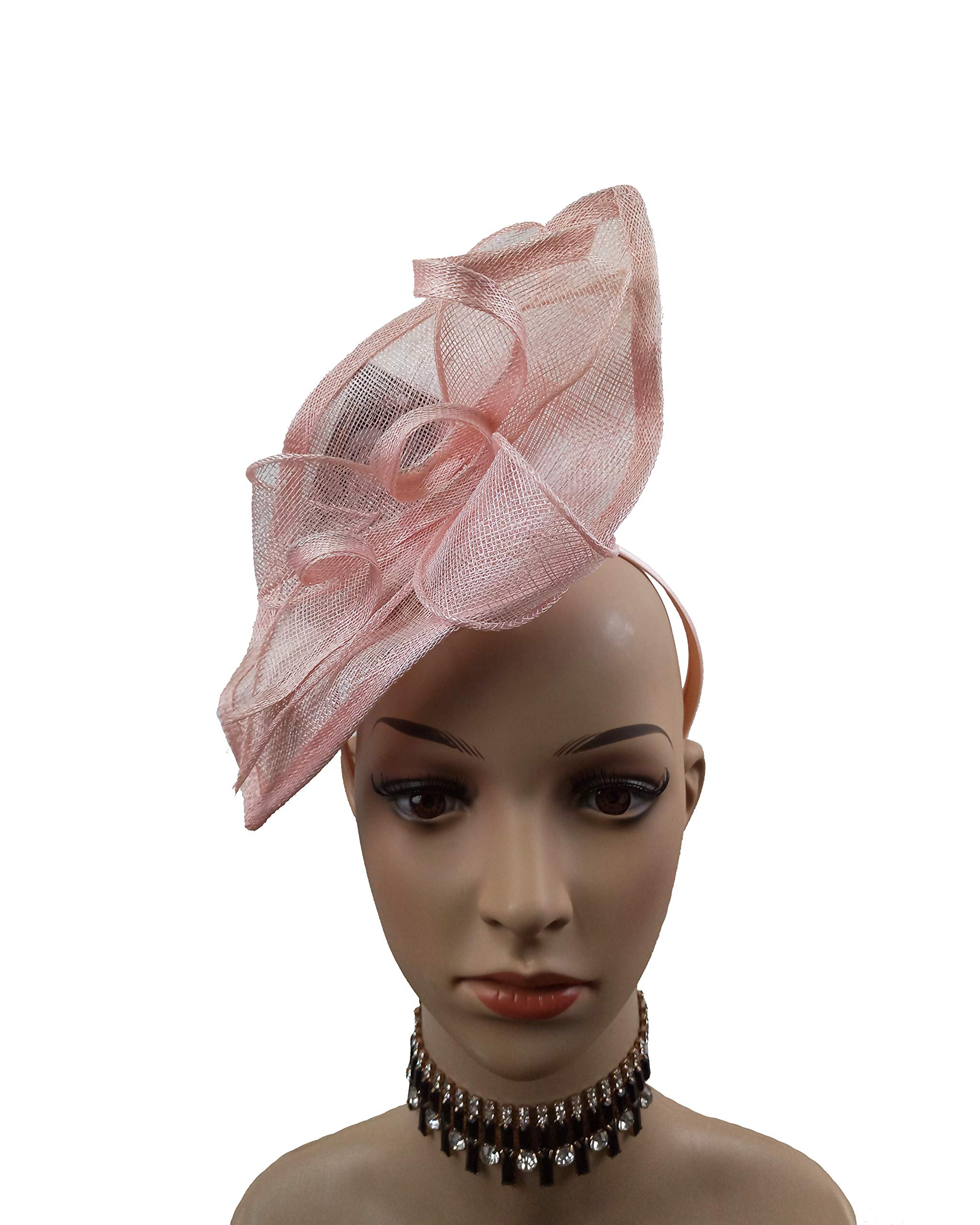 ABPF Sinamay Teardrop Fascinators Headband Hats Derby Racing Hat (Peach Pink)