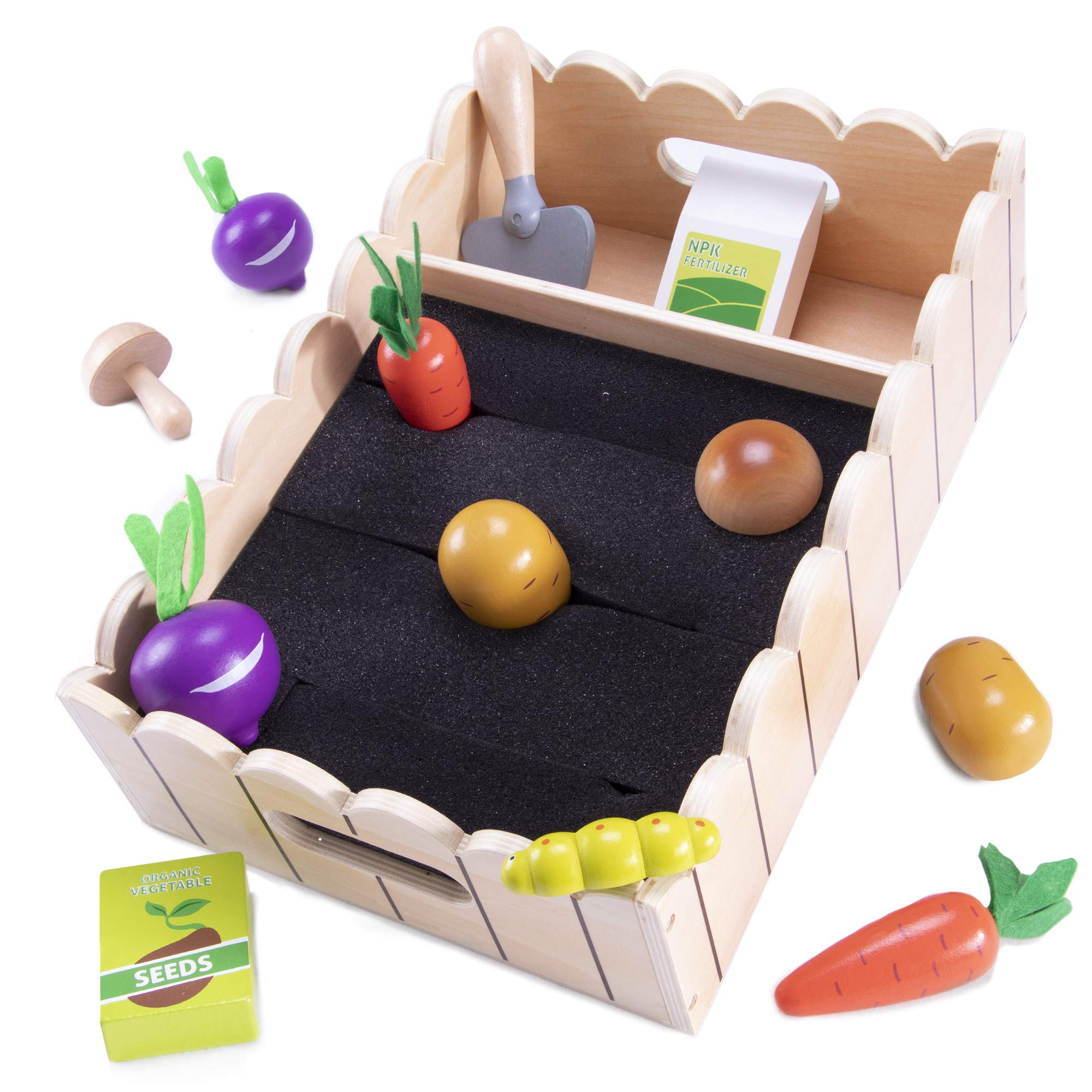 My Little Garden | Growing Vegetables Wooden Playset Activity for Children | Includes Carrots, Beets, Potatoes, Mushrooms, Trowel, Seeds, Fertilizer, Caterpillar (13 pcs.) | Early Learning Toy