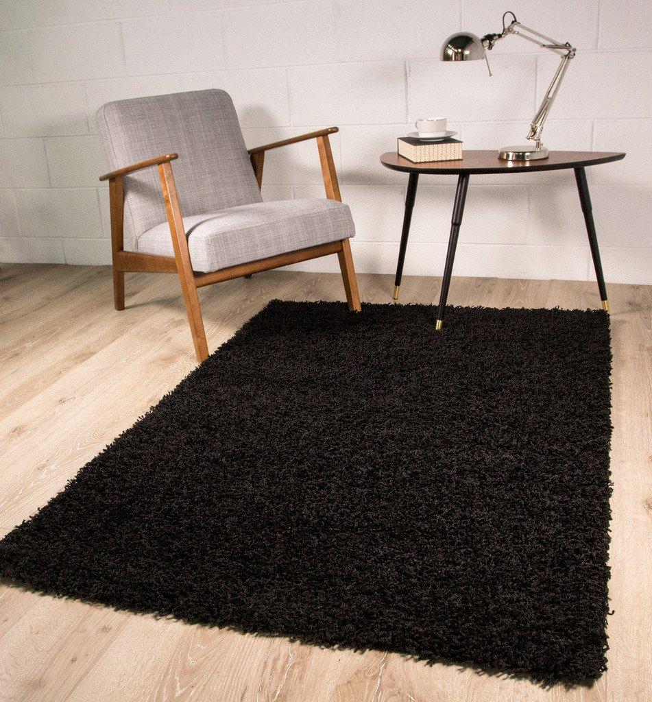 Amazon.com: Luxury Super Soft Black Shag Shaggy Living Room Bedroom ...