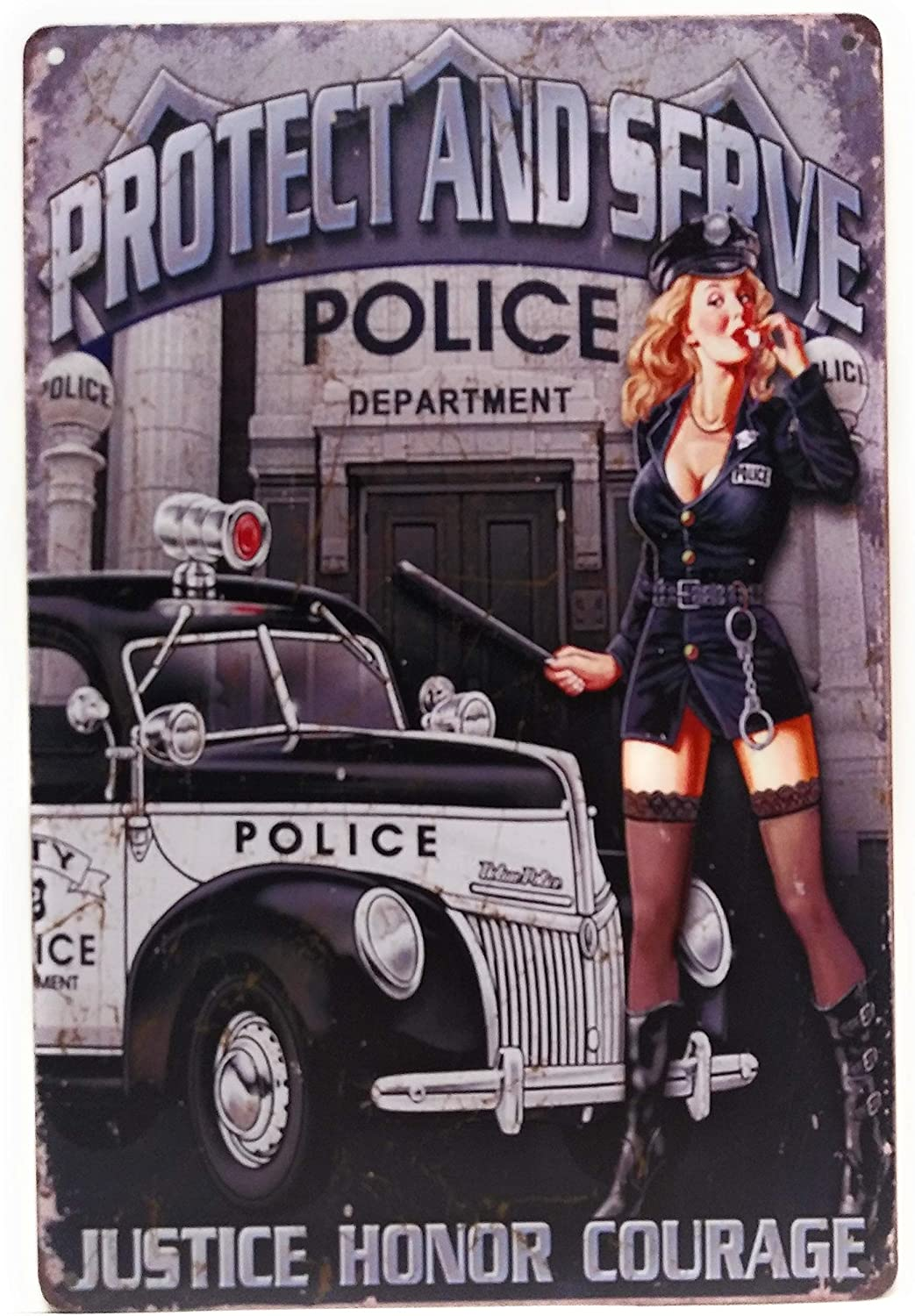 Protect And Serve. Justice, Honor Courage. Vintage Retro Police Tin Sign, Police Decor, Retro Sign, Vintage Police Sign, Protect Sign, 8-inch by 12-inch Sign | TSC435 |