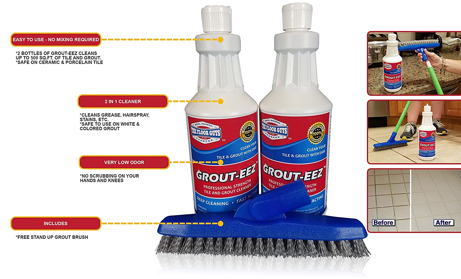 Amazon it just works grout eez super heavy duty tile grout grout eez super heavy duty tile grout cleaner quickly destroys dirt grime safe for all grout easy to use 2 pack with free stand up brush dailygadgetfo Images