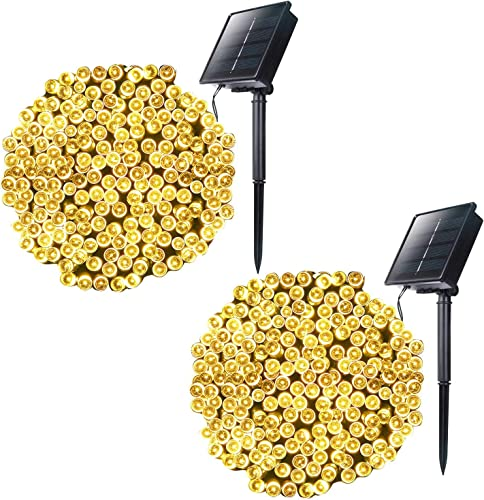 Outdoor Solar String Lights with 8 Light Modes, 72 Foot 200 LED Solar Powered Starry Fairy Waterproof Lights for Wedding Xmas Patio Lawn Party Decoration, 2 Pack Warm White