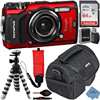 Olympus Tough TG-6 Digital Camera with Deluxe Accessory Bundle - Includes: SanDisk Ultra 64GB Memory Card + Flexible Tripod + Extreme Cloth + More (Red)…