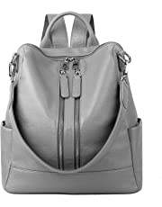 YALUXE Women's Convertible Real Leather Backpack Versatile Shoulder Bag (Upgraded 3.0)