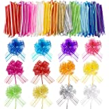 24 Pieces Pull Bow Mixed Color Large Organza Pull Bow Present Wrapping Pull Bow with Ribbon for Wedding Present Baskets (6 In