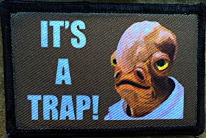 "Star Wars Admiral Ackbar ""It's A Trap!"" Morale Patch. Perfect for your Tactical Military Army Gear, Backpack, Operator Baseball Cap, Plate Carrier or Vest. 2x3"" Patch. Made in the USA"