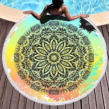 Toalla De Playa De Microfibra, Redonda con Borla, Mandala ...