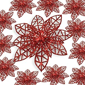 BANBERRY DESIGNS Red Poinsettia Clip On Ornaments - Wreath Decor - Pack of 12 Glitter Poinsettia Flowers with Metal Clips - Holiday Decorations - Artificial Poinsettia Flowers -