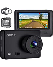 """Rove R1 Dash Cam with WiFi and Sony IMX323 Sensor 1080p FHD Dash Camera for Cars WDR, SuperCapacitors, G-Sensor, 24-HR Parking Monitor, Loop Recording, 2.45"""" IPS Screen, Supports 512GB Max"""