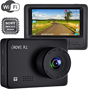 """Rove R1 WiFi Dash Cam 1080P FHD Built in Sony CMOS Sensor Car Driving Recorder 2.45"""" LCD Display 150° Wide Angle, WDR, Parking Monitor, Loop Recording, Motion Detection, G-Sensor, 128GB SD Slot"""