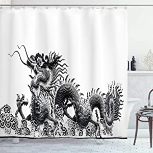 Ambesonne Dragon Shower Curtain, Traditional Chinese Dragon Symbolize Strength and Luck Powers Fantasy Graphic, Cloth Fabric Bathroom Decor Set with Hooks, 70