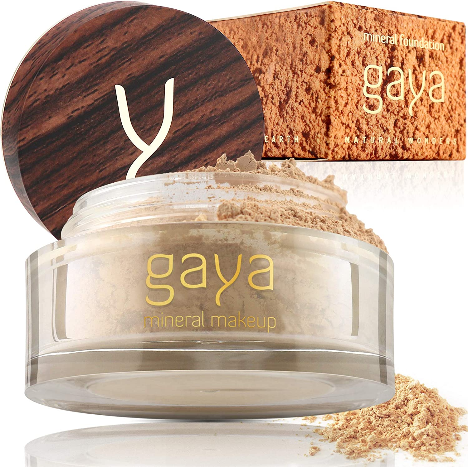Gaya Cosmetics Mineral Foundation Full Coverage - Professional Vegan Natural Make up Face Powder Foundation with Makeup Concealer For All Skin Types (MF1)