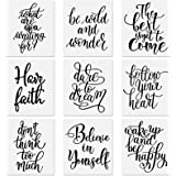 9 Pieces Word Stencil Templates Inspirational Quote Sign Stencils Plastic Motivational Stencils Reusable Word Sign Stencil fo