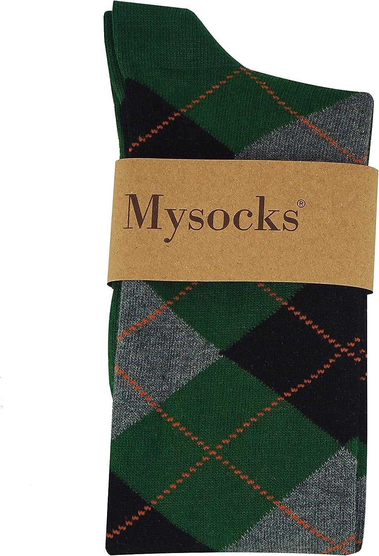 Mysocks Unisex Kniehohe Argyle Socken Gr/üne Asche Schwarz Orange