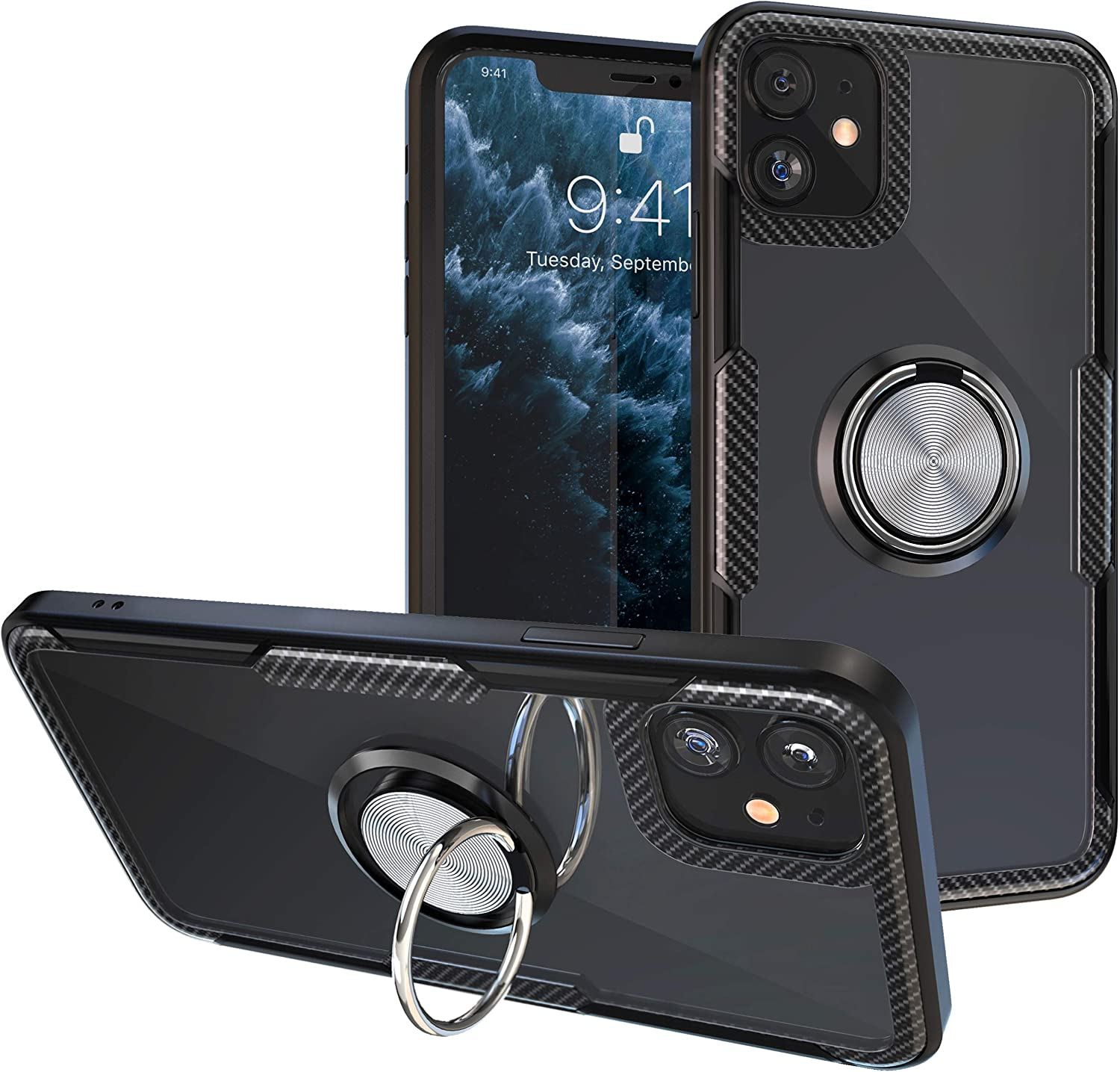 iPhone 11 Case | Transparent Crystal Clear Cover | Carbon Fiber Trim & Rubber Bumper | 360° Rotating Magnetic Finger Ring | Kickstand | Compatible with Apple iPhone 11 - Black