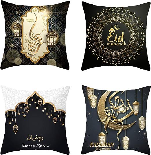 "18/"" Muslim Ramadan Pattern Cotton Linen Cushion Cover Pillow Case Home Decor"