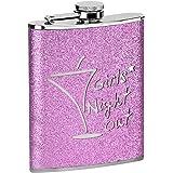 Star 5 Hip Flask - 8 oz - Girls Night Out Glitter Hip Flask - 8 oz - Hot Pink