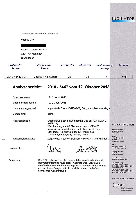 Magnesio coloidal 50 PPM - altamente concentrado (nivel de pureza 99.99%) (1000 ml): Amazon.es: Salud y cuidado personal