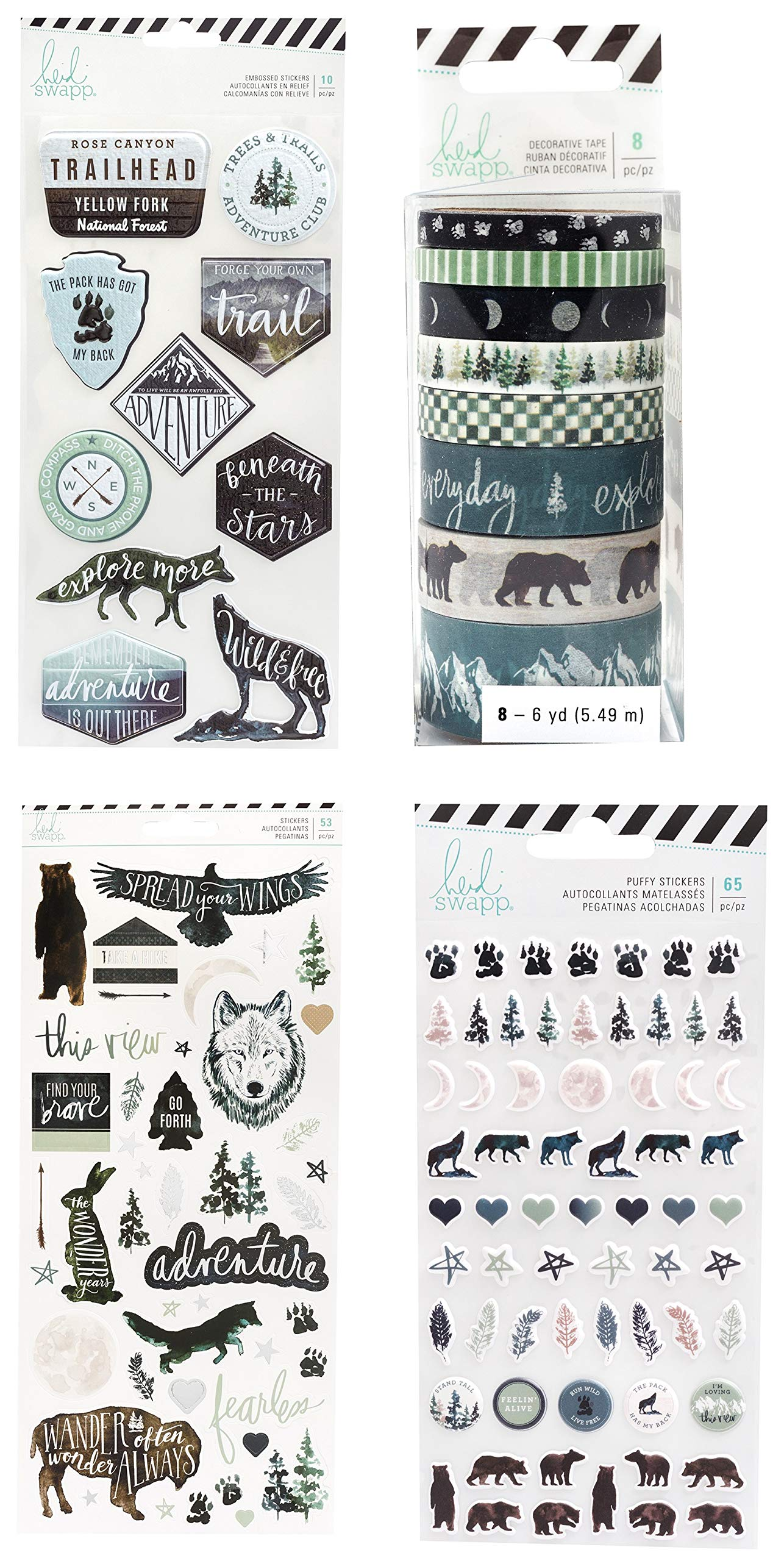 Wolf, Bear, Forest Scrapbook Stickers and Washi Tape Assortment | Sticker Set for Adventure, Camping, Hiking Themed Scrapbooking, Planner, Bullet Journals, Album, Calendars, DIY Crafts by Generic