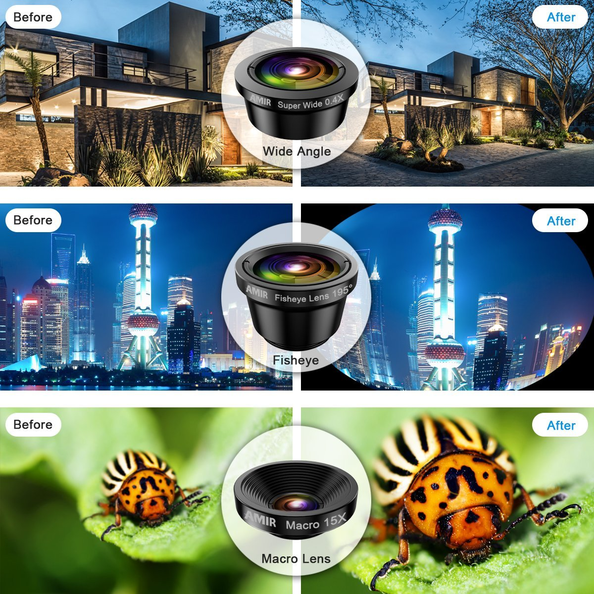[Upgraded] AMIR For iPhone Camera Lens, 0.4X Super Wide Angle Lens + 195° Fisheye Lens & 15X Macro Lens, 3 IN 1 Cell Phone Camera Lens For iPhone X, iPhone 8/7 Plus, Samsung, Other Smartphones by AMIR (Image #5)