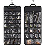 SMRITI Hanging Jewelry Organizer, Canvas Jewelry Zippered Organizer, Wall Mount Storage Bag for Earrings Necklace Bracelet, D