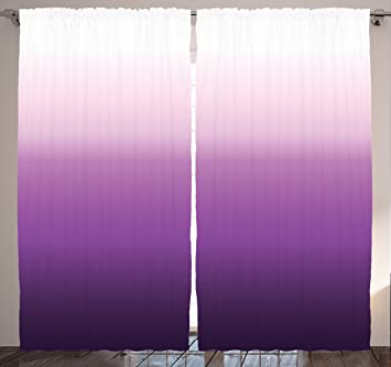 Eggplant Curtains Ombre Home Decor By Ambesonne, 108 X 84 Inches, Silky  Satin Window