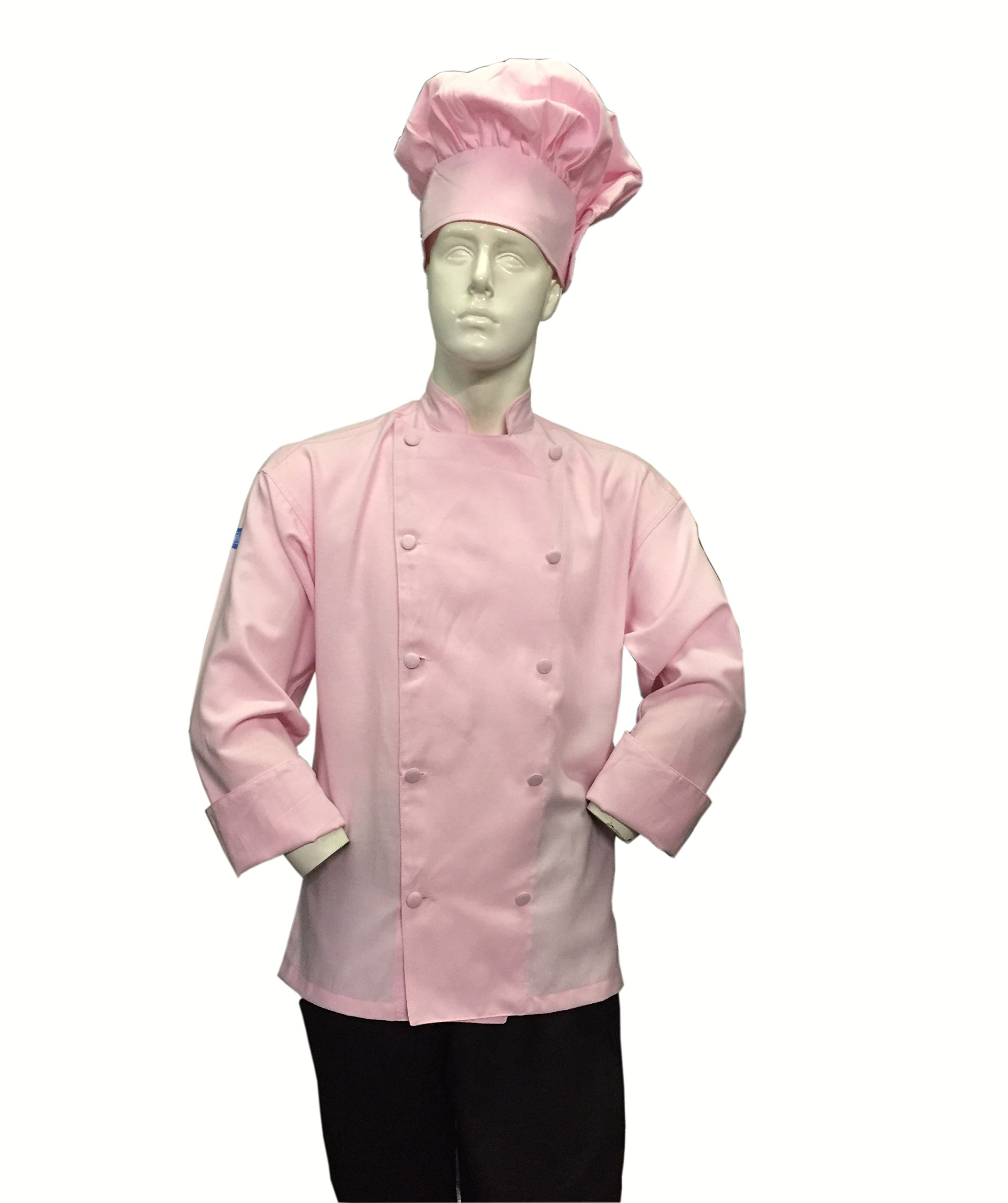 Chefskin Soft Pink Chef Jacket Coat Cool Soft Twill Fabric Beautiful + Hat (2X-60 in chest)