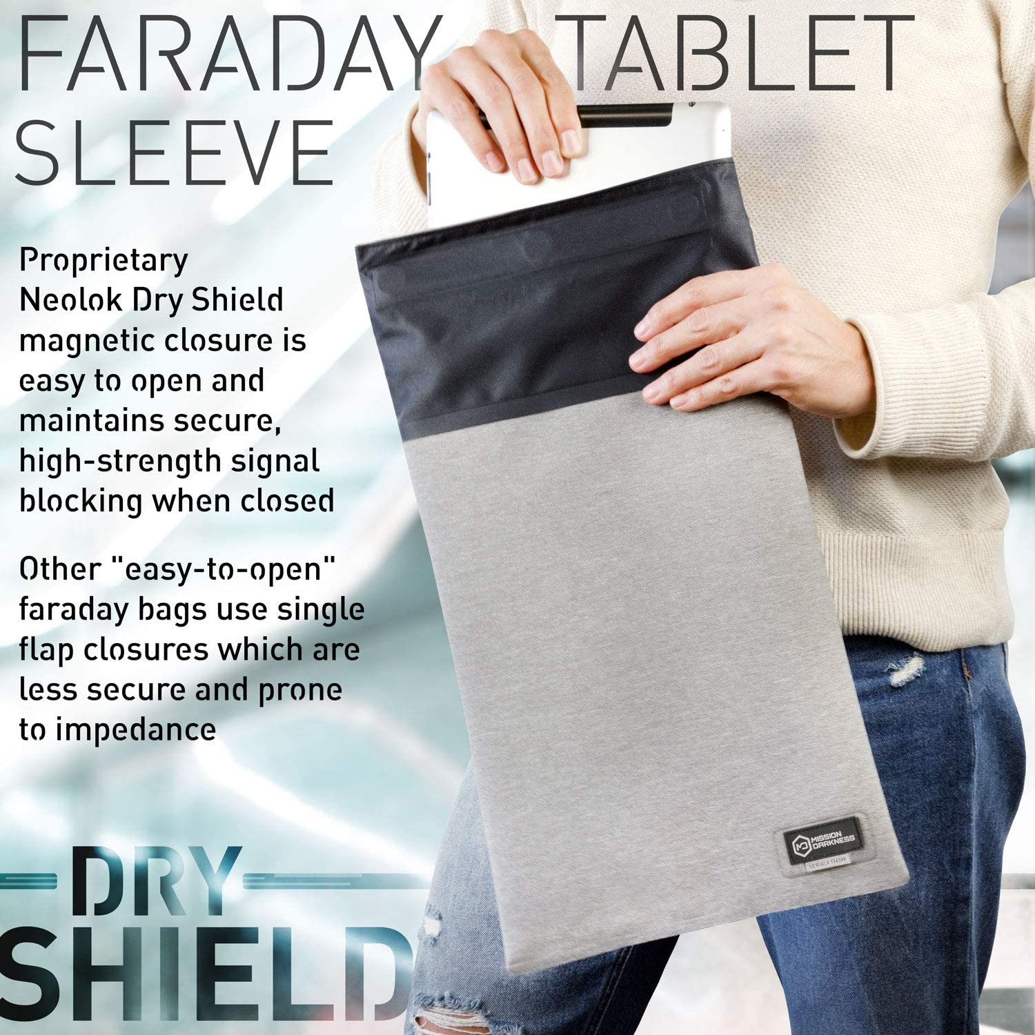 Data Privacy Electronic Device Security RF Shielding Liner //// Signal Blocking Anti-Tracking EMP Shield Mission Darkness Dry Shield Faraday Tablet Sleeve //// Slim Waterproof Dry Bag for Tablets