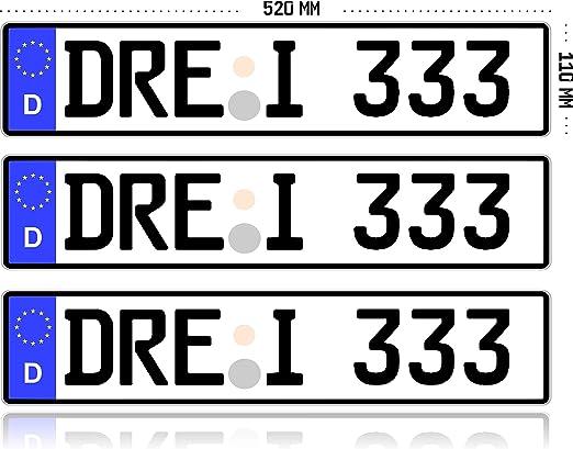 Mbh Shop 3 X Kfz Kennzeichen Autokennzeichen Wunschkennzeichen Nummernschild Pkw Kennzeichen Fahrradträger Anhänger Reflektierend Individualisierbar Auto