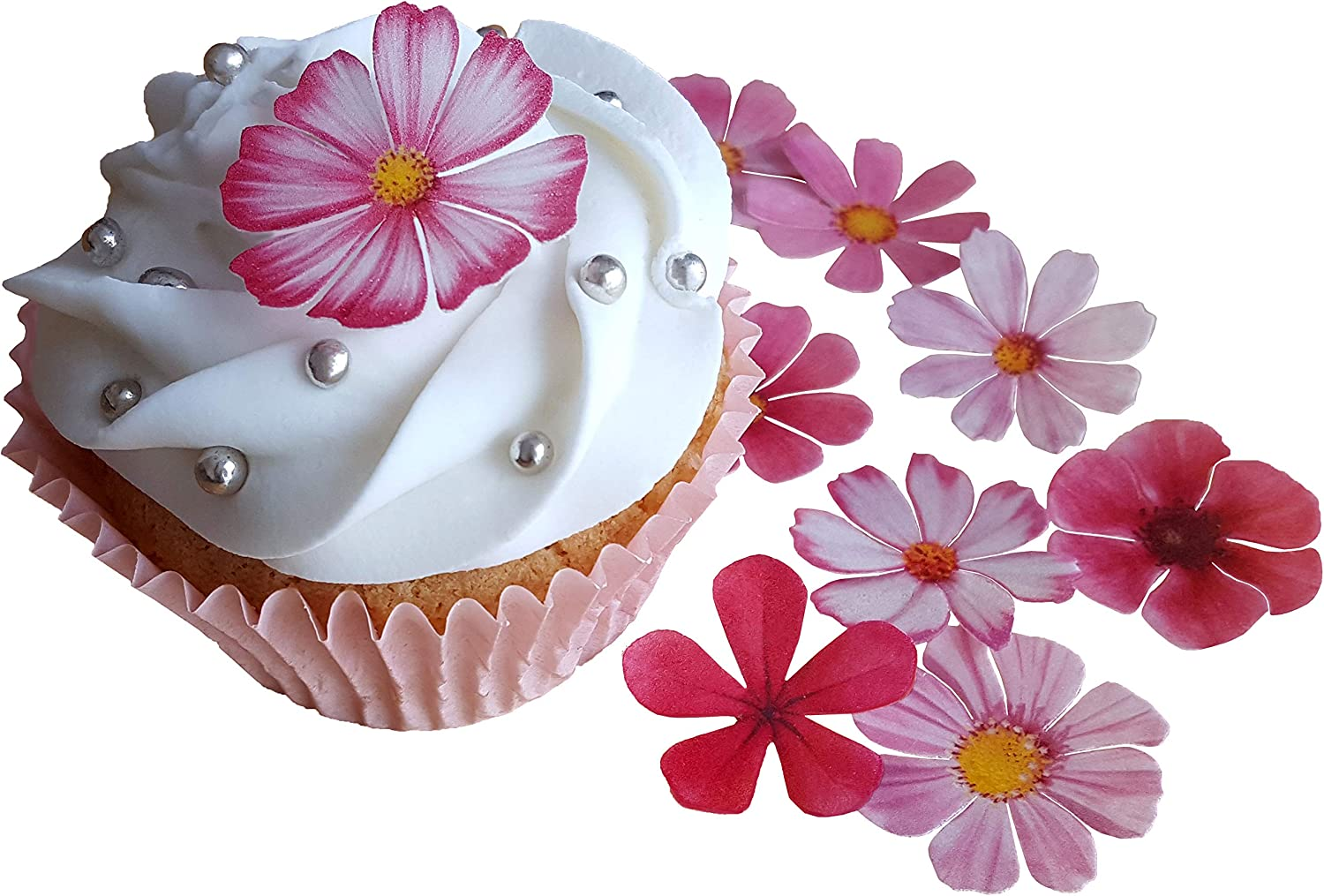 12 PRECUT Edible Pink Mix Flowers wafer//rice paper cake//cupcake toppers
