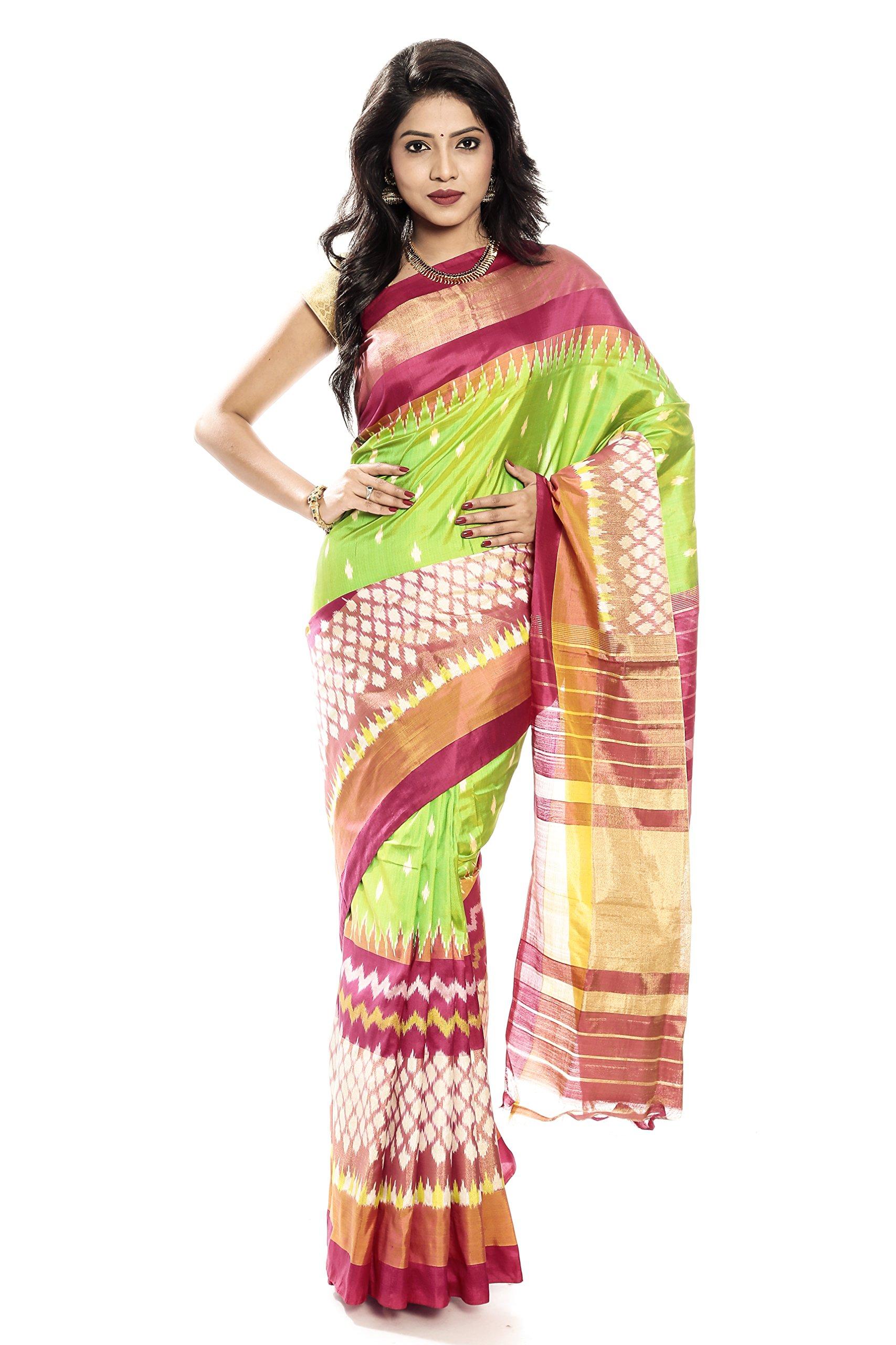 Mandakini — Indian Women's Pochampally - Handloom - Ikat Pure Silk Saree (Pink-Green ) (MK303)