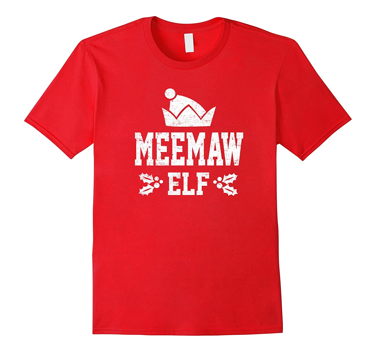 Meemaw Elf Pajama Christmas Holiday Season Funny Tshirt-ANZ