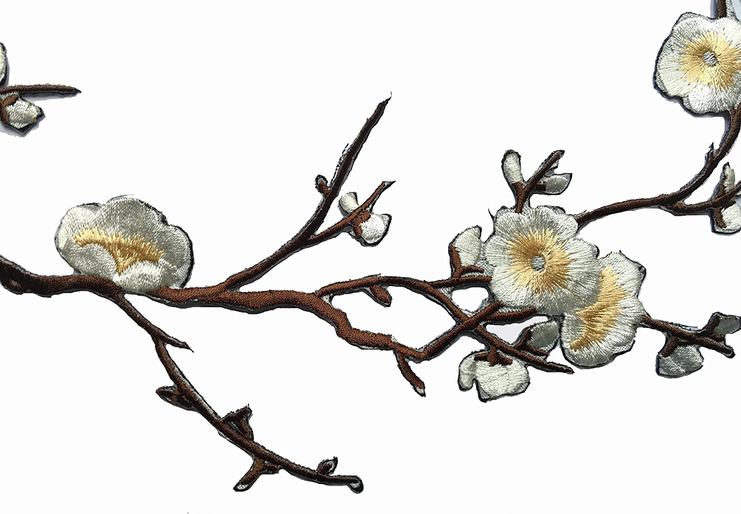 Two Asian Cherry Blossom Sakura Flower Iron on Embroidered Appliques Patch Japanese Chinese Purple