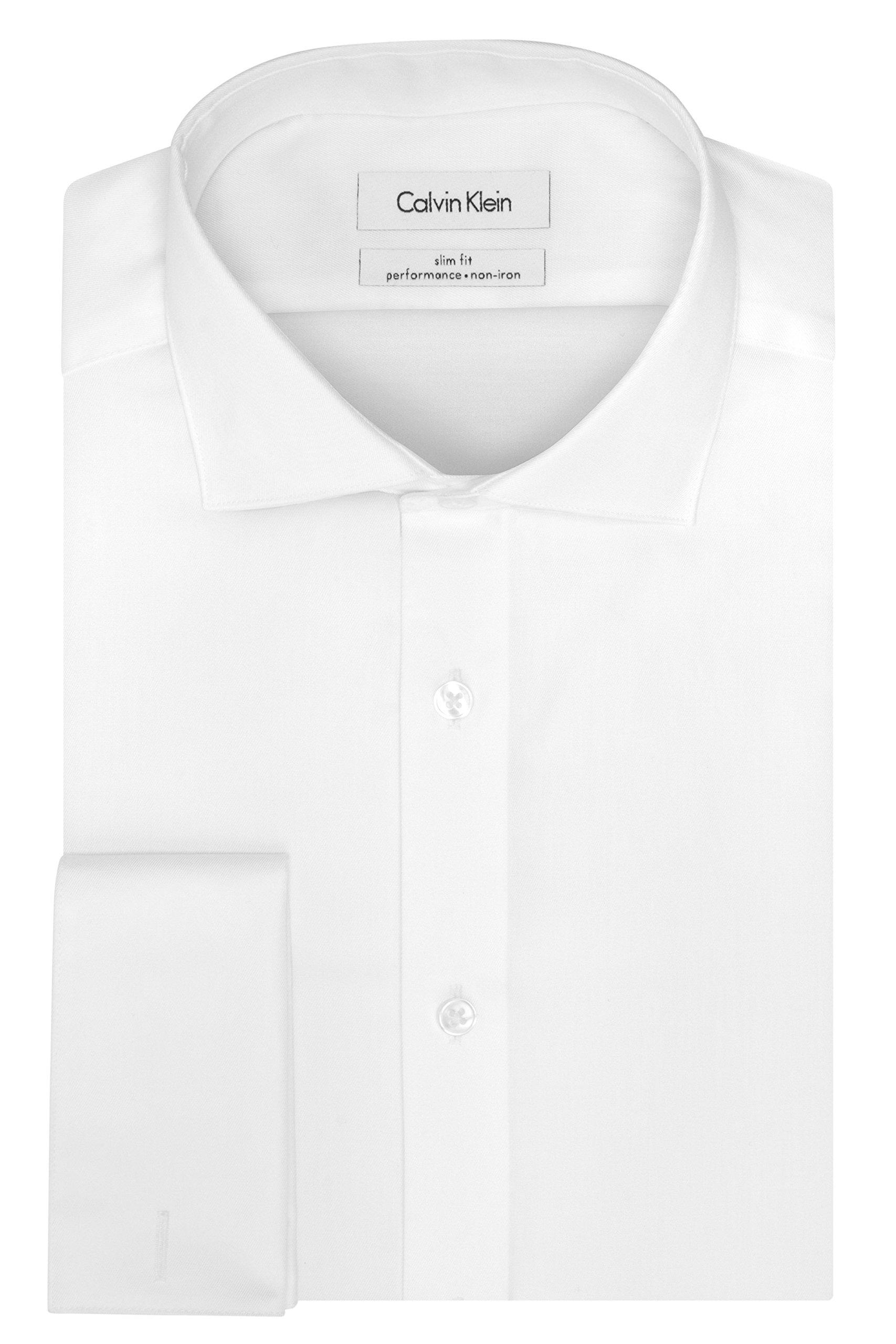 Calvin Klein Men's Non Iron Slim Fit French Cuff Dress Shirt, White, 15'' Neck 32''-33'' Sleeve
