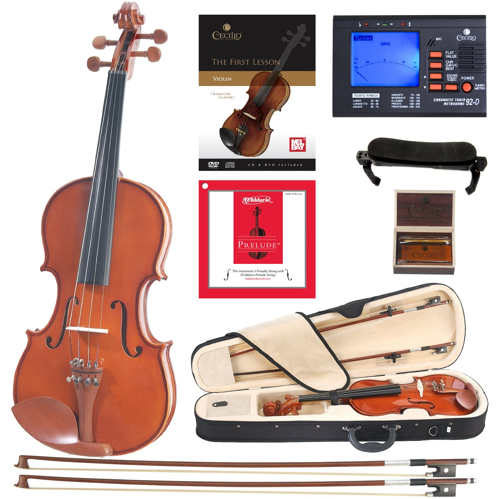 Cecilio CVN-200 Solidwood Violin with D'Addario Prelude Strings, Size 3/4