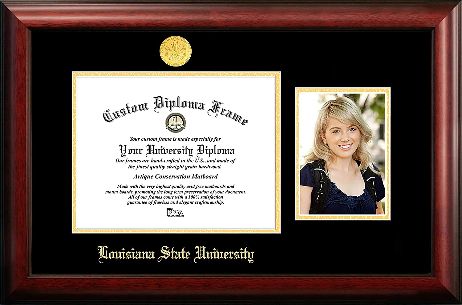 NCAA LSU Tigers Unisex Louisiana State University 11 x 8.5 Inches Gold Embossed Diploma Frame with 5 x 7 Inches Portrait Gold Embossed Diploma Frame with 5 x 7 Inches Portrait Brown One Size