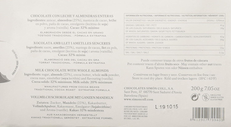 Simón Coll - Tableta de chocolate (Leche y almendras) - 200 gr.: Amazon.es: Alimentación y bebidas