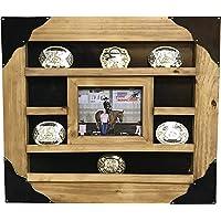 Rustic Belt Buckle Belt Buckle Display Case Wall Cabinet (Cowhide - Pine Wood)