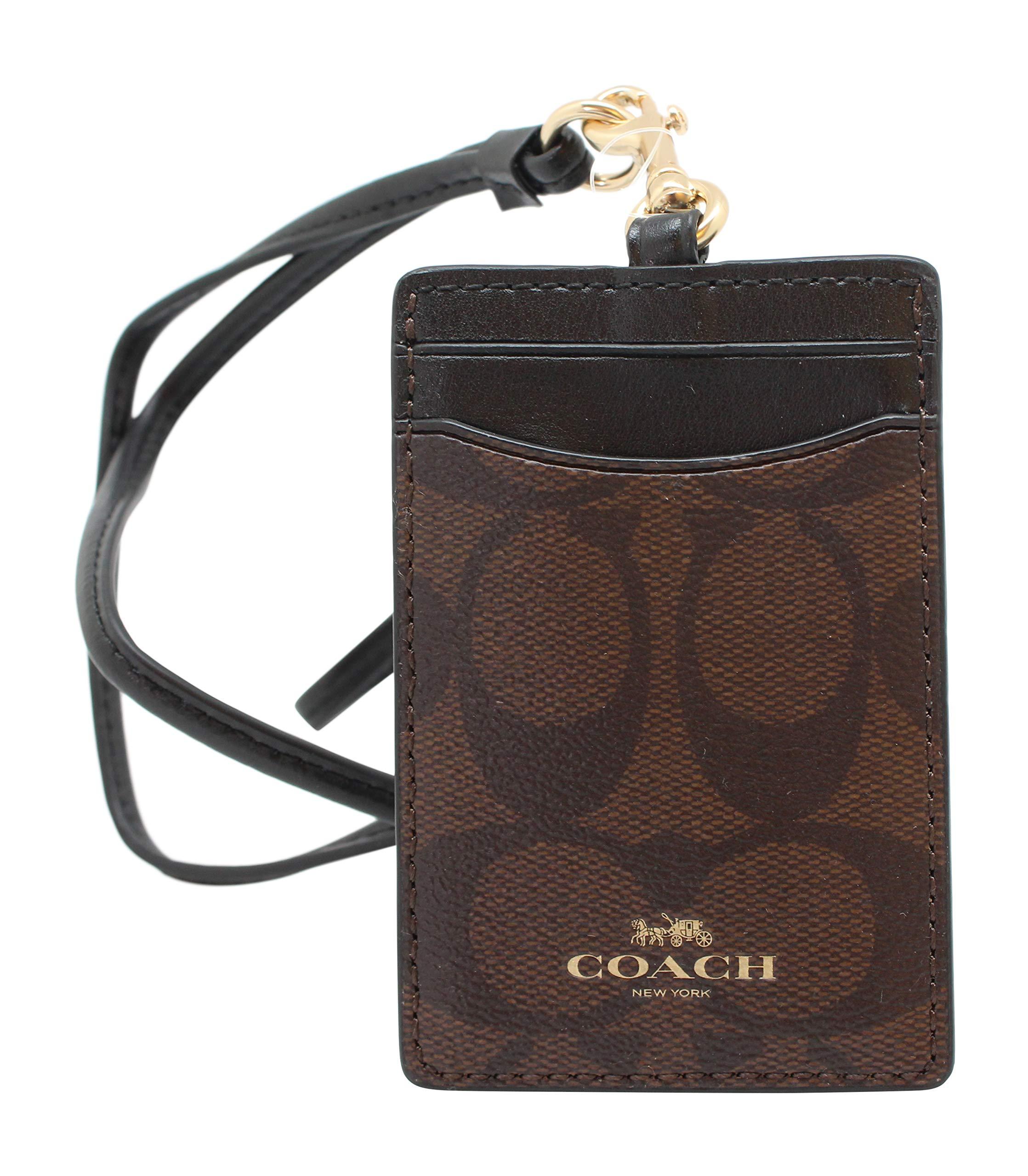 Coach Signature PVC Lanyard ID Badge Card Holder (Brown/Black) by Coach