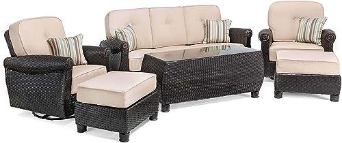 La-Z-Boy Outdoor Breckenridge 6 Piece Resin Wicker Patio Furniture Conversation Set Natural Tan : Two Swivel Rocker