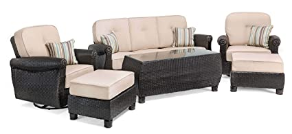 La Z Boy Outdoor Breckenridge 6 Piece Resin Wicker Patio Furniture Conversation Set Natural Tan Two Swivel Rockers Sofa Coffee Table And Two