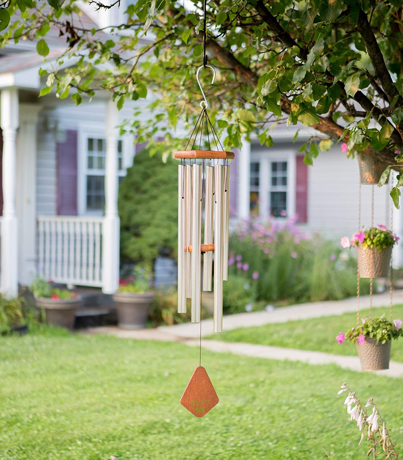 "Wind Chimes Outdoor, 25"" Amazing Grace Wind Chimes with 6 Aluminum Tubes Musical Melody Wind Bell for Garden, Patio, Balcony, Indoor Decor with Beautiful Sound (Silver) Erlvery DaMain"